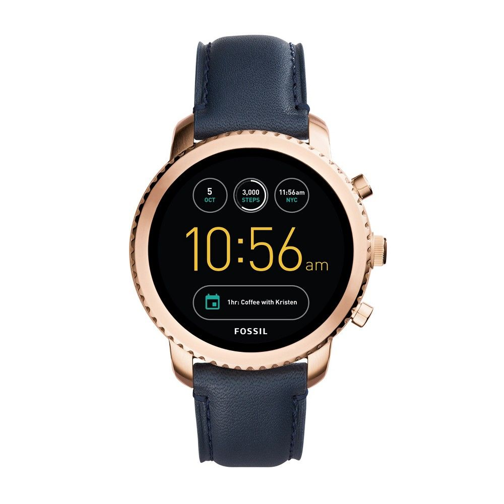 3e9a0987697c Fossil Gen 3 Smartwatch - Q Explorist 46mm Rose Gold-Tone Stainless  Steel Navy Leather