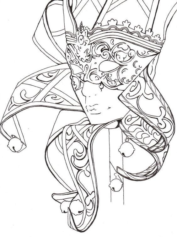 mask carnival coloring pages colouring