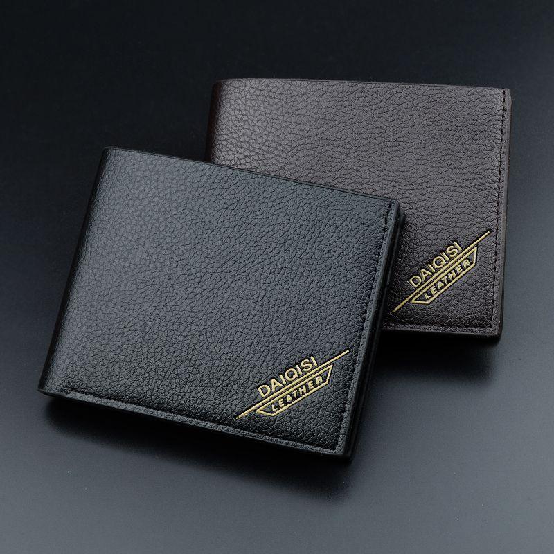 f52fd45e6978 Leather Men Wallet Super Thin Leather Handmade Custom Name Slim Purse Men  Short Small Wallet Card Purse Male