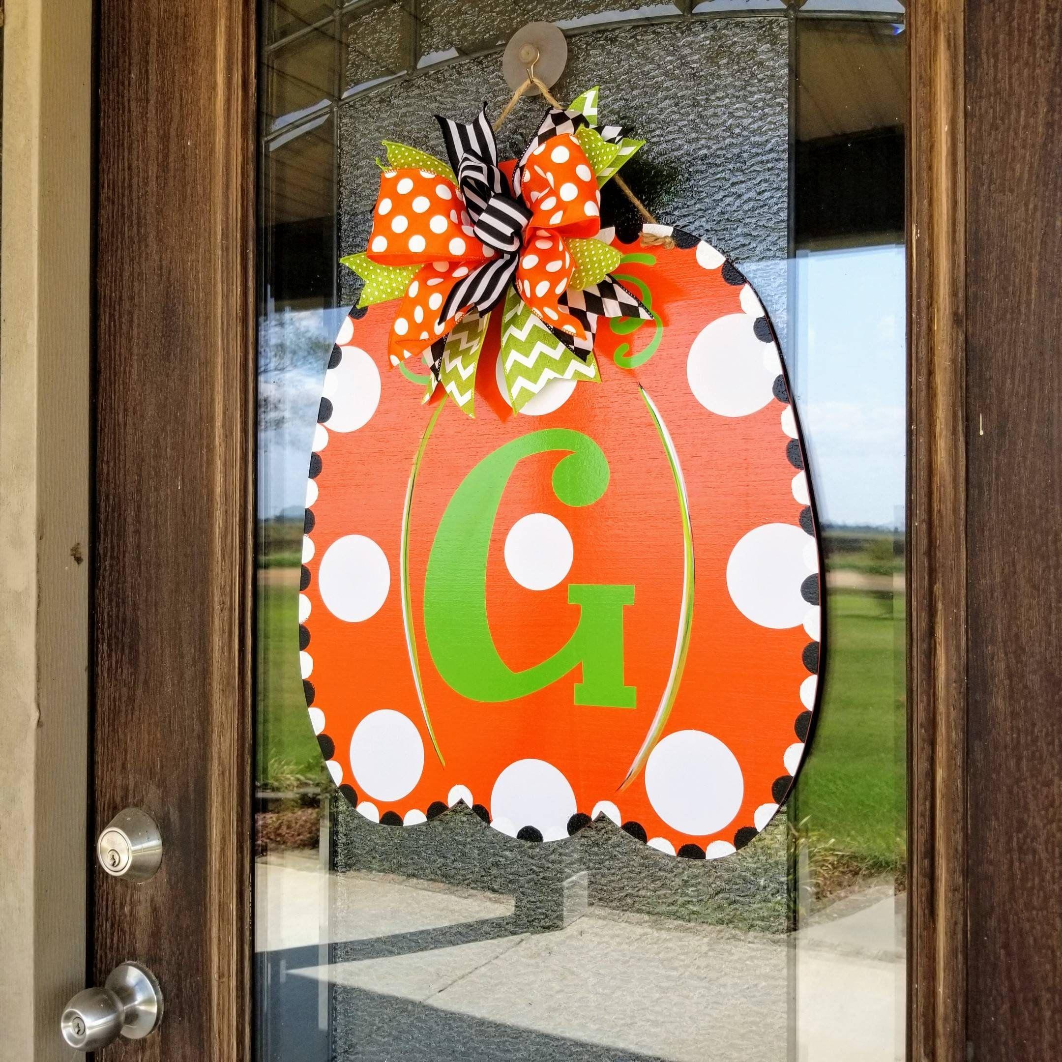 Monogrammed Door Hanger Wooden Monogrammed Pumpkin Fall Door Decor Wooden Pumpkin Wooden Monogram