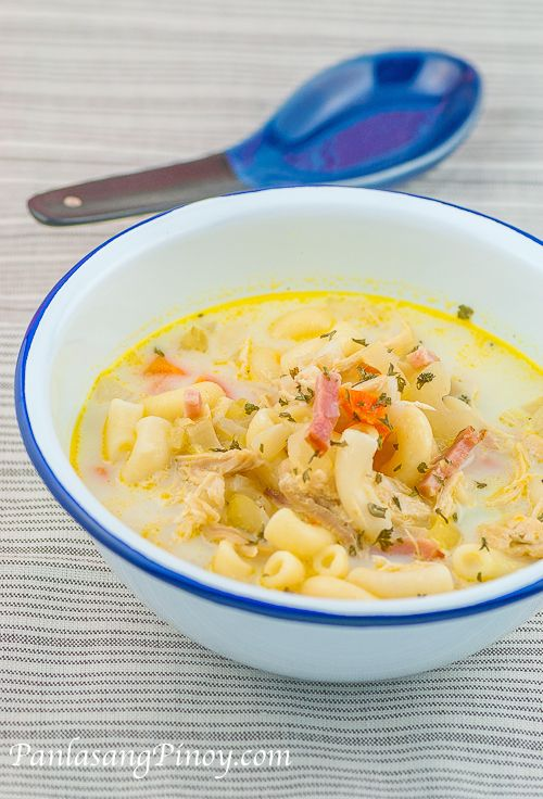 Chicken Macaroni Sopas is a rich chicken noodle soup dish that I really enjoy having during cold weather, or even on an ordinary day -- usually in the mid afternoon. I have had chicken macaroni sopas ever since I was a kid. This soup has been my favorite; I remember having this every afternoon as some sort of snack.