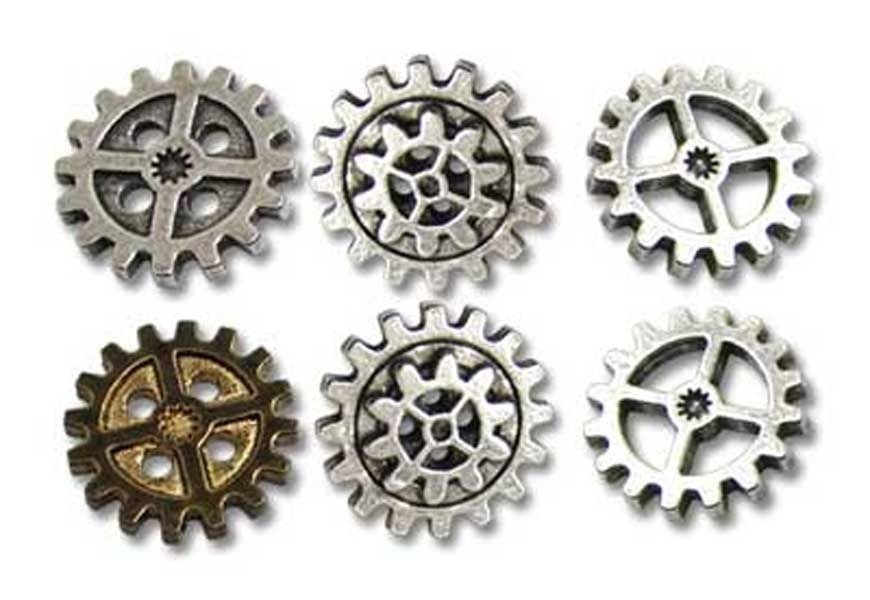 Alchemy Gothic Empire Steampunk Six Gear Wheel Cog Buttons