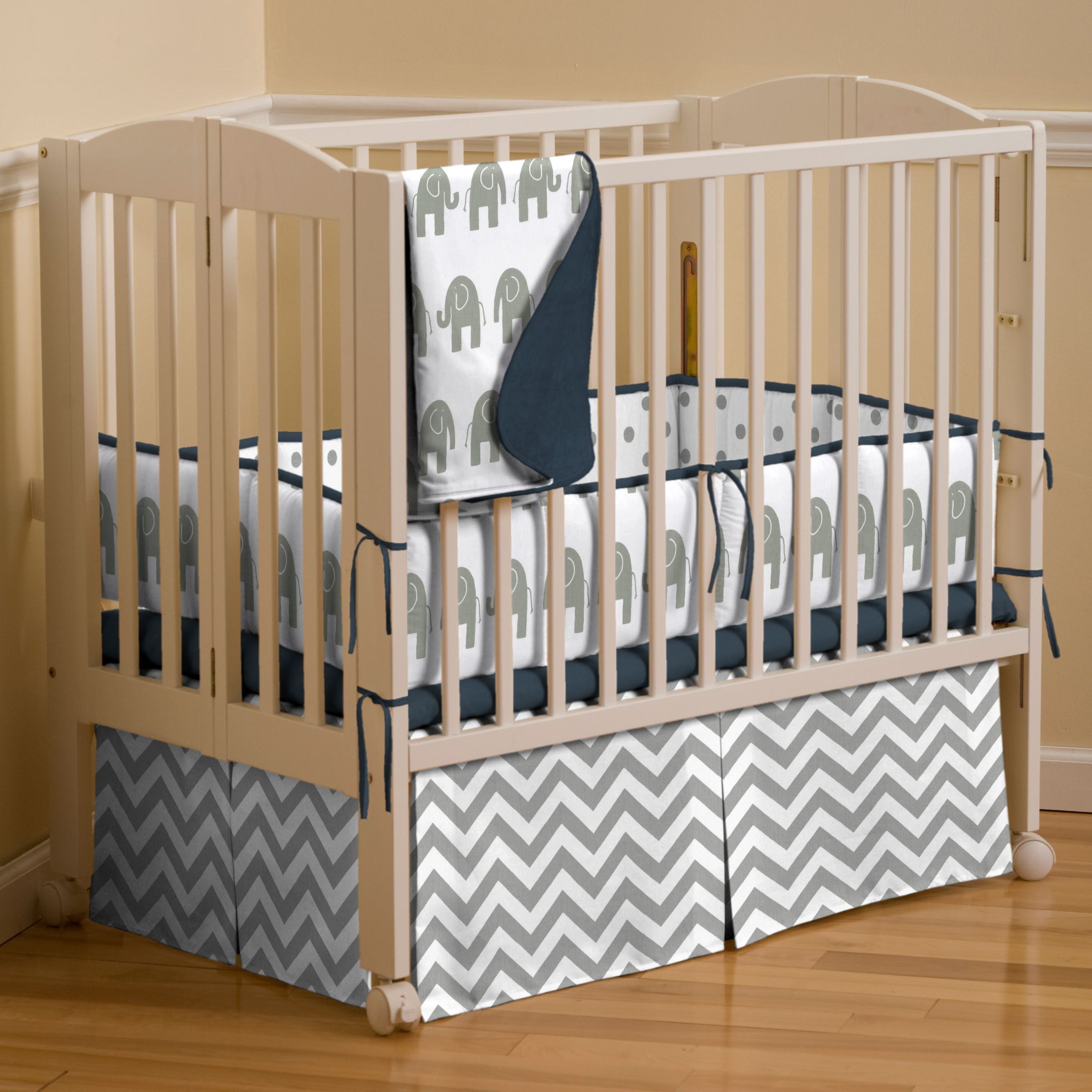Gray Elephants Mini Crib Bedding