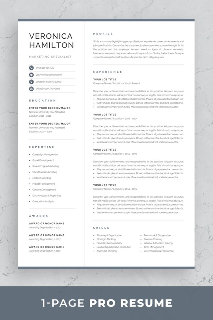 Professional Resume Template Compact 1 Page Resume Template Etsy One Page Resume Template Resume Template Professional One Page Resume