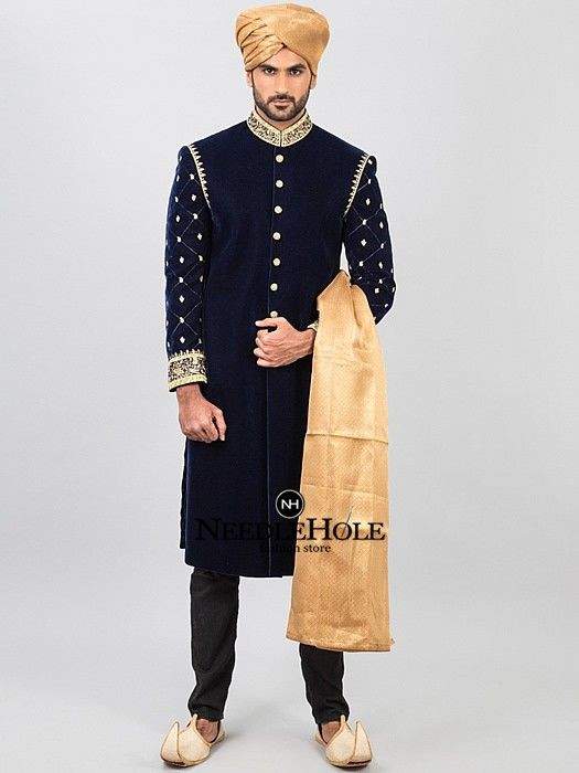 acde71f384 Navy blue velvet sherwani for handsome groom featured fully ...