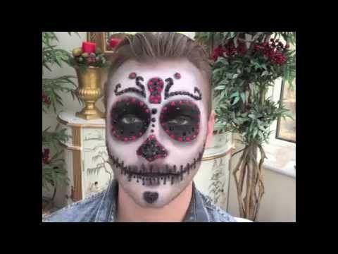 halloween male crystal sugar skull makeup tutorial