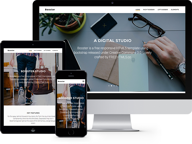 Booster Free HTML5 Bootstrap Template Free Responsive