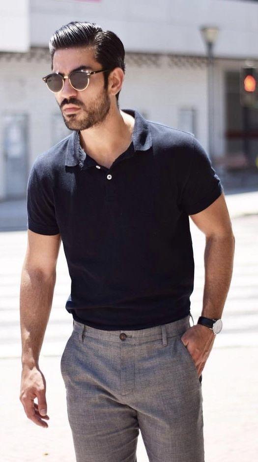 Summer outfit idea black polo shirt gray trousers wayfarer