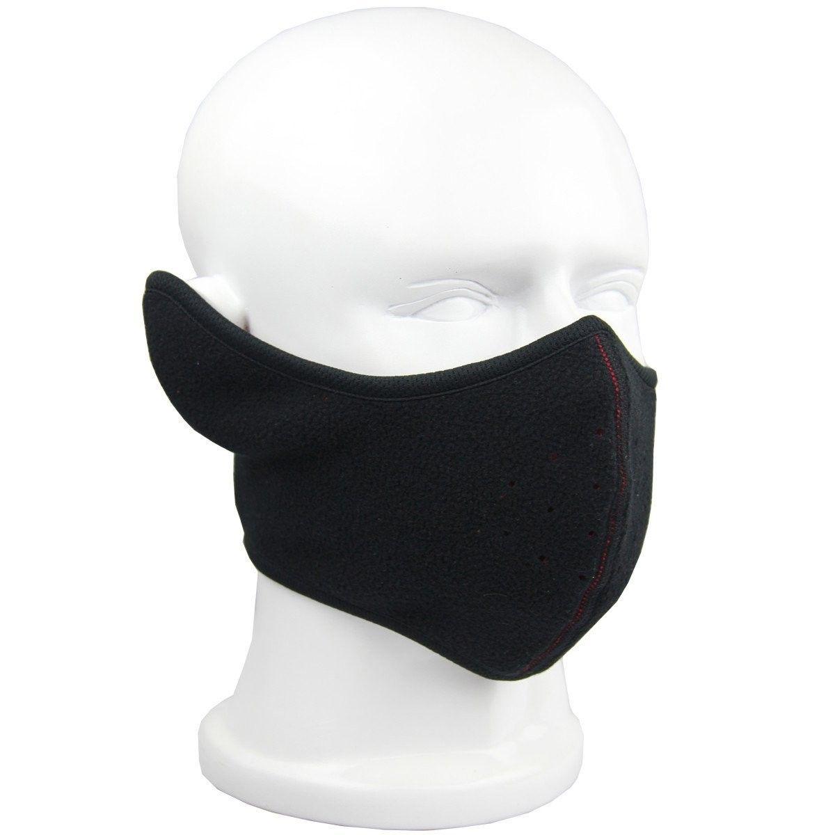 Reversible Fleece Ear Nose Warmer Half Face Mask Facemask Facial Mask -  Black - CV11QSUHLL9 - Hats   Caps c41f7f31acf7