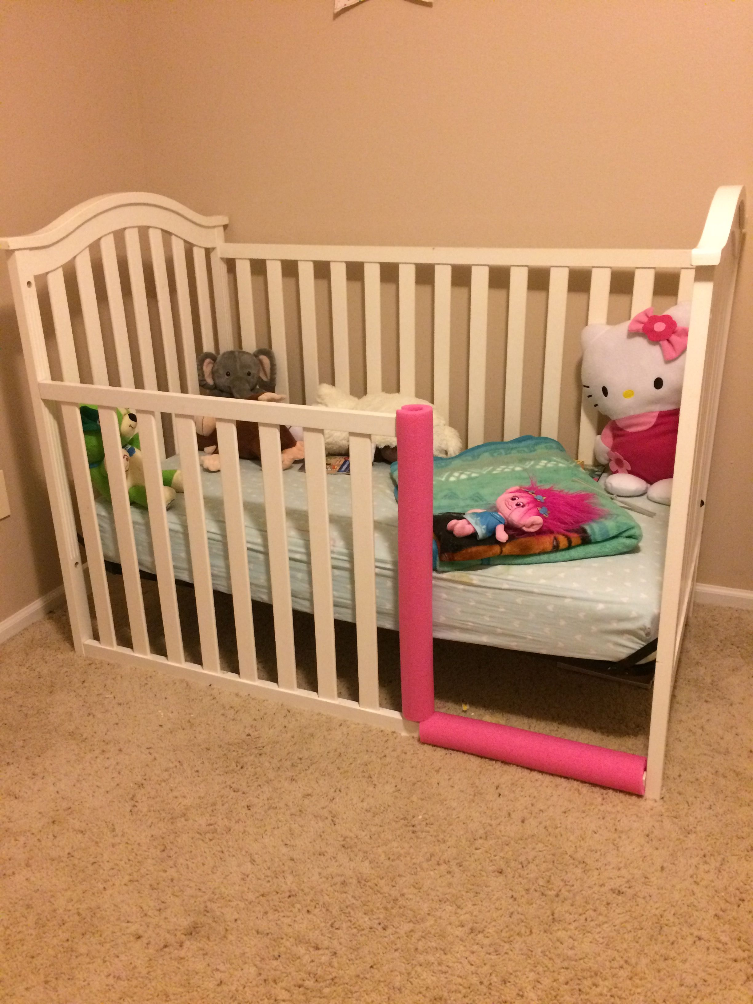 Toddler Bed From Crib Pool Noodle Repurpose For Safety Diy Toddler Bed Kids Toddler Bed Crib Toddler Bed