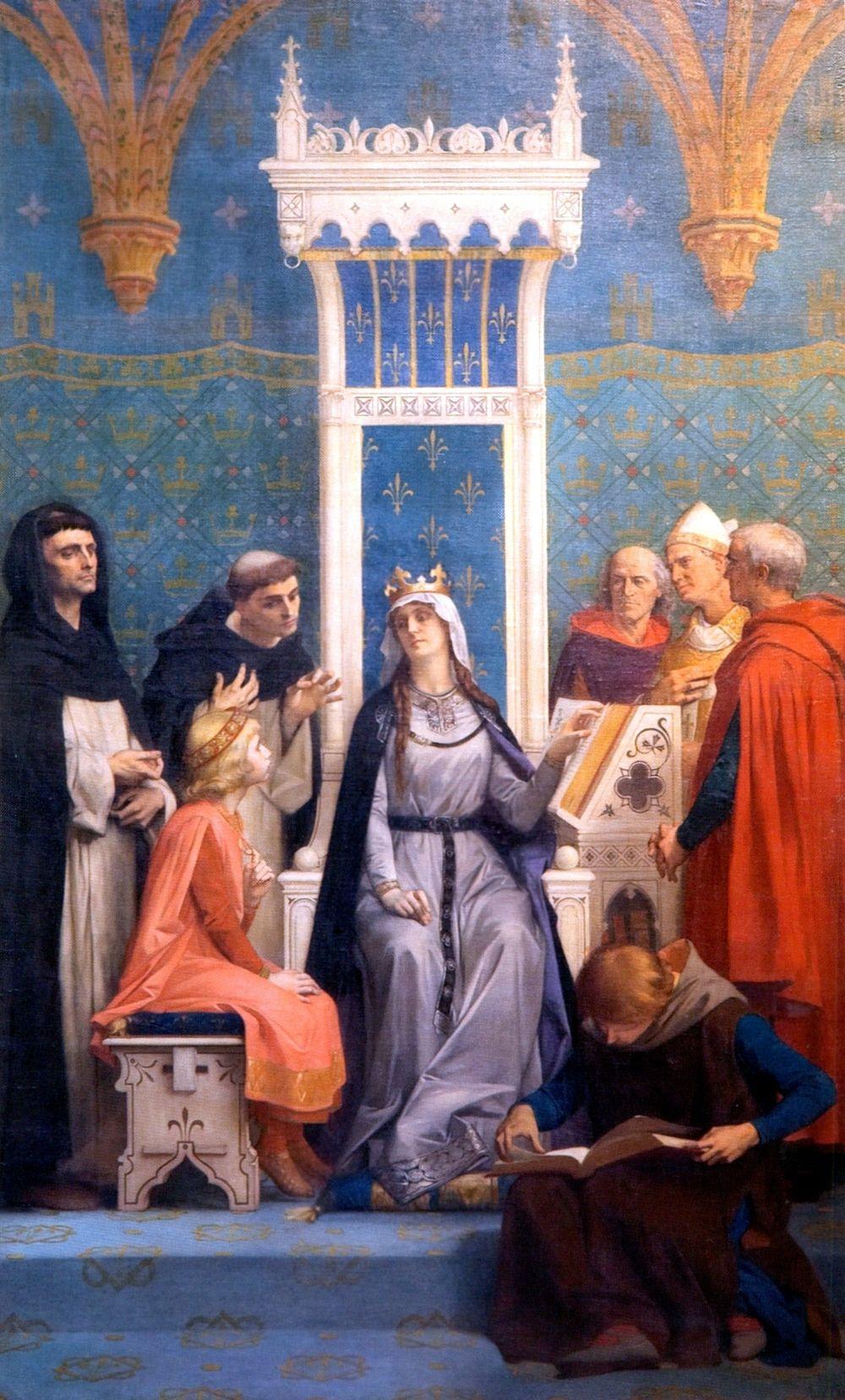 L'éducation de saint Louis sous l'autorité de sa mère Blanche de Castille   fresque du Panthéon.