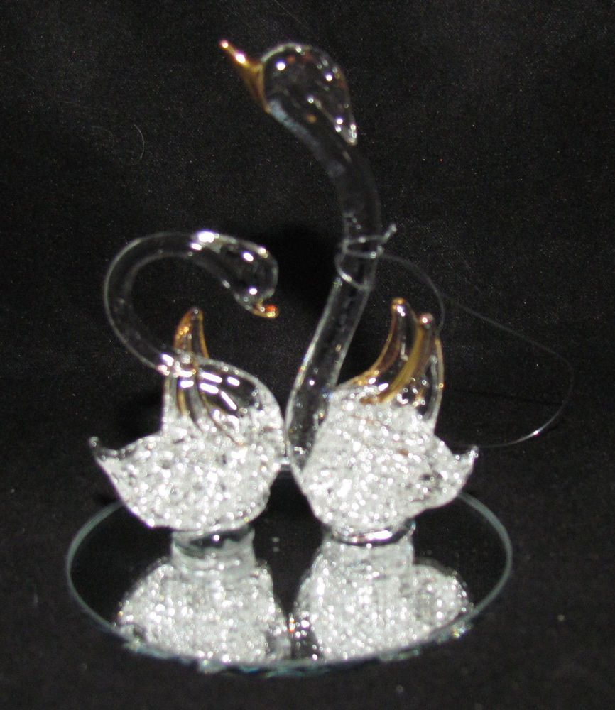 Spun Glass Christmas Ornament Geese Figurine ~ 24K Gold Plated Mirror Base Mint!