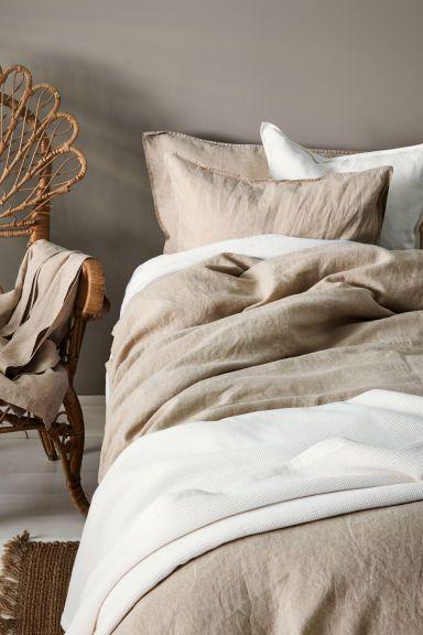 Washed Linen Duvet Cover Set Linen Beige Home All H M Ca Slaapkamerideeen Beige Beddengoed Slaapkamerinterieur