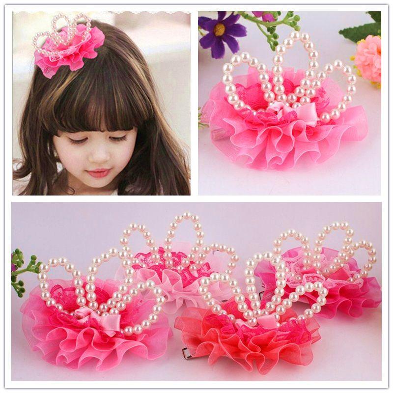 10 PCS princesa Crown horquillas de los accesorios del pelo de las muchachas de flor Perlas tiaras Headwear del pelo del bebé de los niños accesorios de la pinza