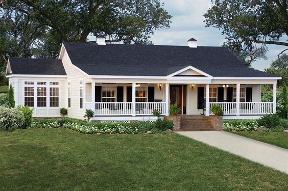 Single Story Home With Wrap Around Porch Google Search Modular Home Floor Plans Ranch Style Homes House Exterior