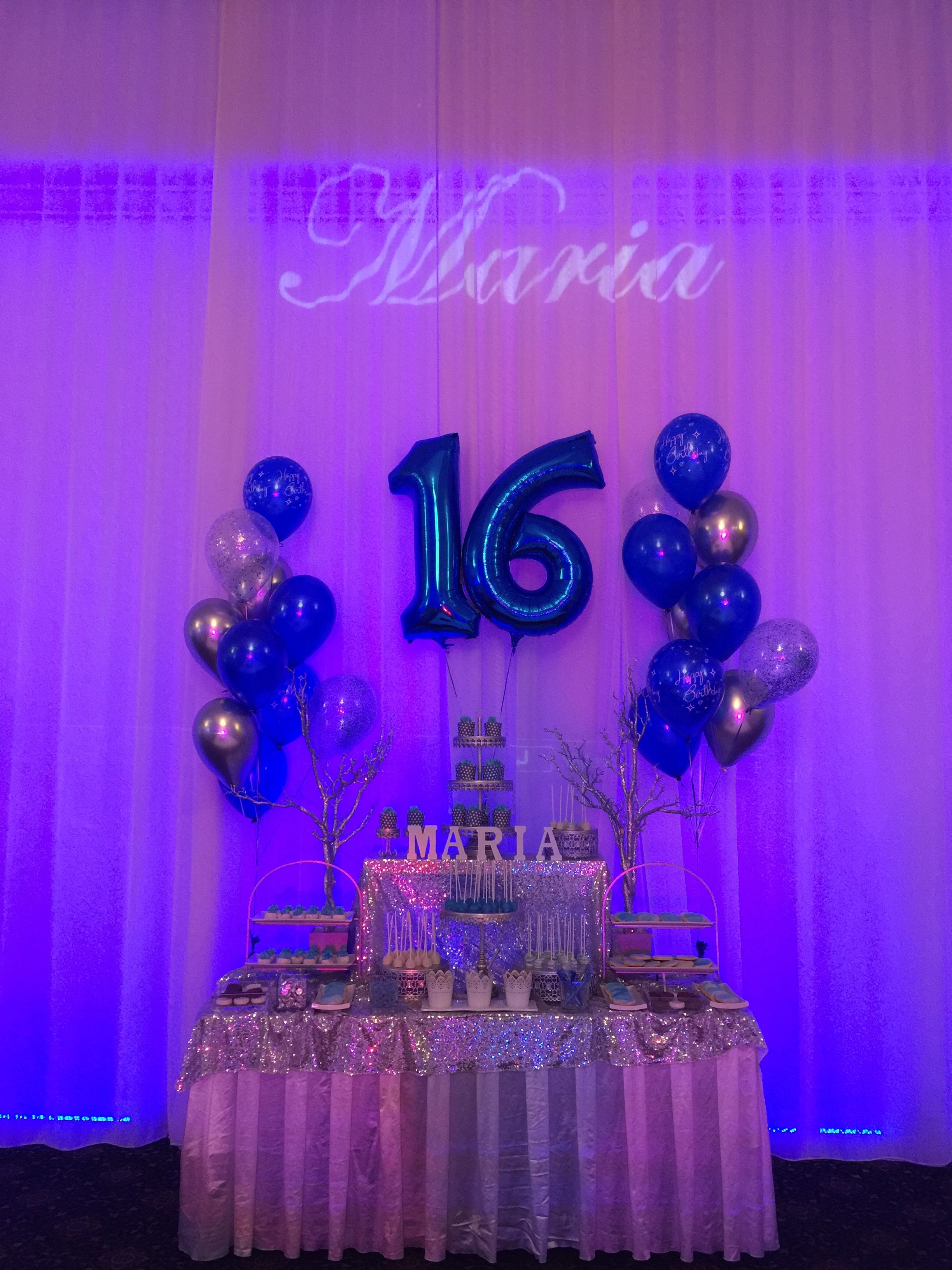 Sweet Sixteen Candy Bar In Blue And Silver Theme Sweet 16 Party Themes Sweet 16 Party Decorations Sweet Sixteen Decorations