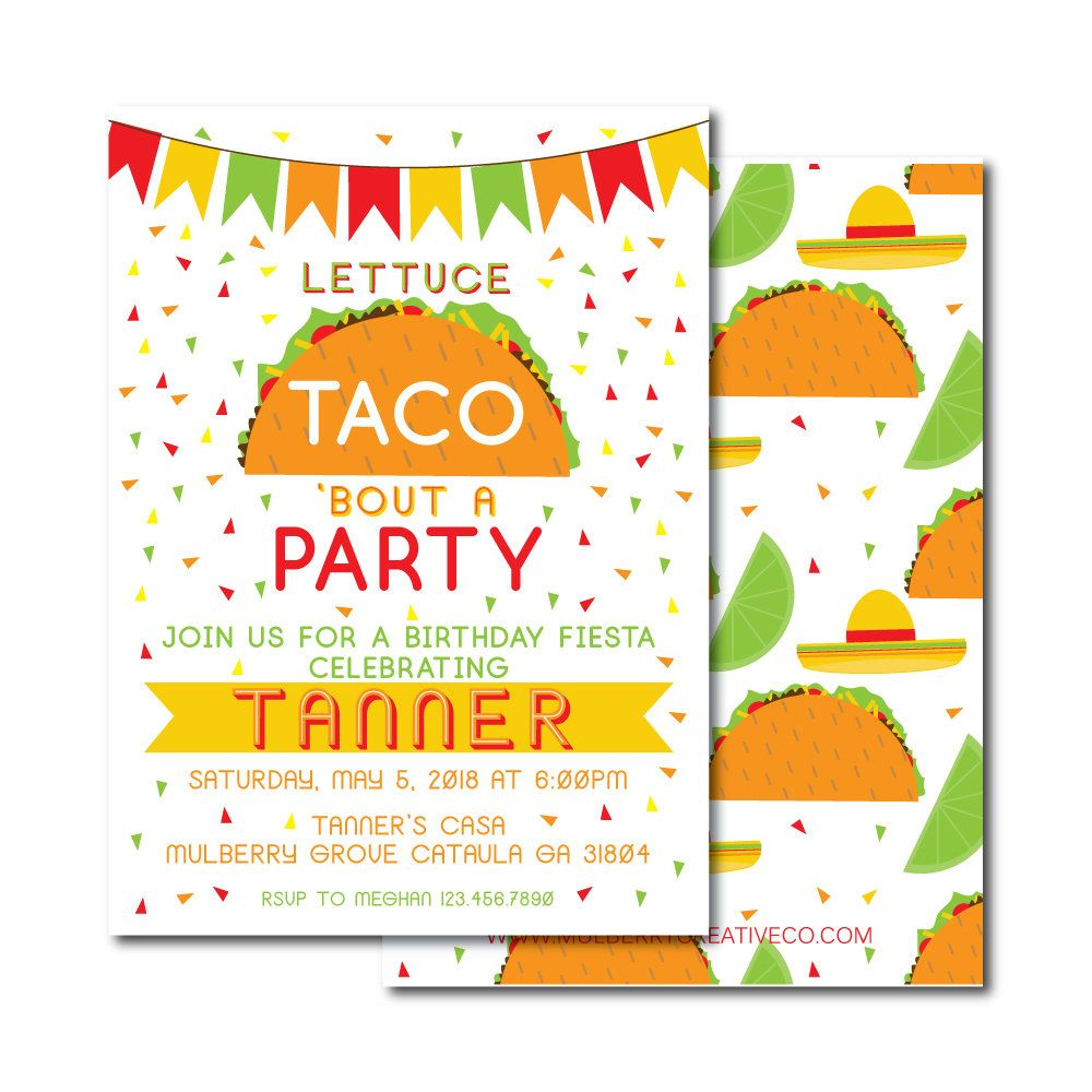 taco birthday invitation fiesta birthday invite cinco de mayo
