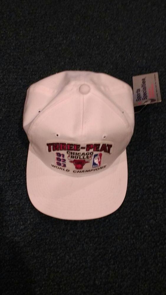 0f5e0839bce VINTAGE CHICAGO BULLS NBA BASKETBALL WORLD CHAMPIONS THREE-PEAT 91 92 93 HAT  CAP