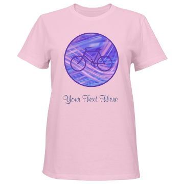 Blue Ribbon Bicycle Circle   Designed for anyone who likes to bike, the feature on this shirt is a dark blue bicycle silhouette. The image is placed in the center of an abstract circle background that appears as if ribbons of pink and blue light cascade through it. Your text is in blue at the bottom, although you may remove it completely if you'd like. Definitely unique!