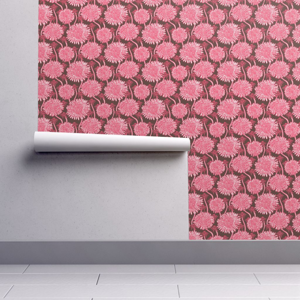 BIg bold hand drawn pink flowers Pink flowers wallpaper
