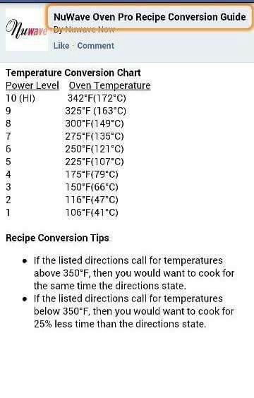 Nuwave Conversion Chart This Chart Was Reposted In A Group By Bella Stella Nuwave Induction Recipes Nuwave Oven Recipes