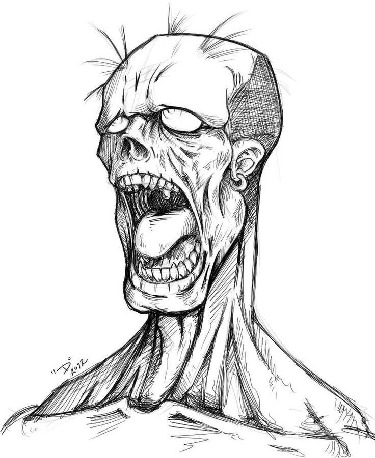 Resultado de imagen para zombie drawing  calaveras  Pinterest