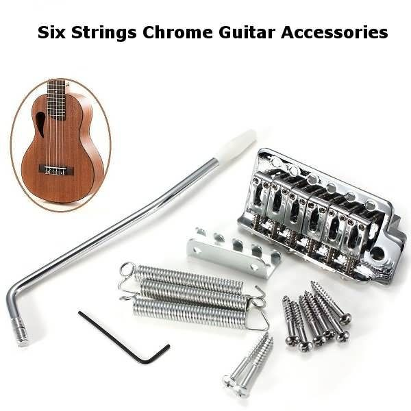 6 Strings Chrome Guitar Tremolo Bridge With Bar Guitar Accessories Description Material Metal Color Silver Total Weight 275g Size 85x42mm Features Made O