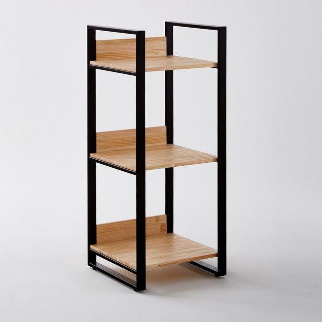 Hiba Pine Metal 3 Shelf Unit Small Shelving Unit Wood And Metal Shelves Wood Shelving Units