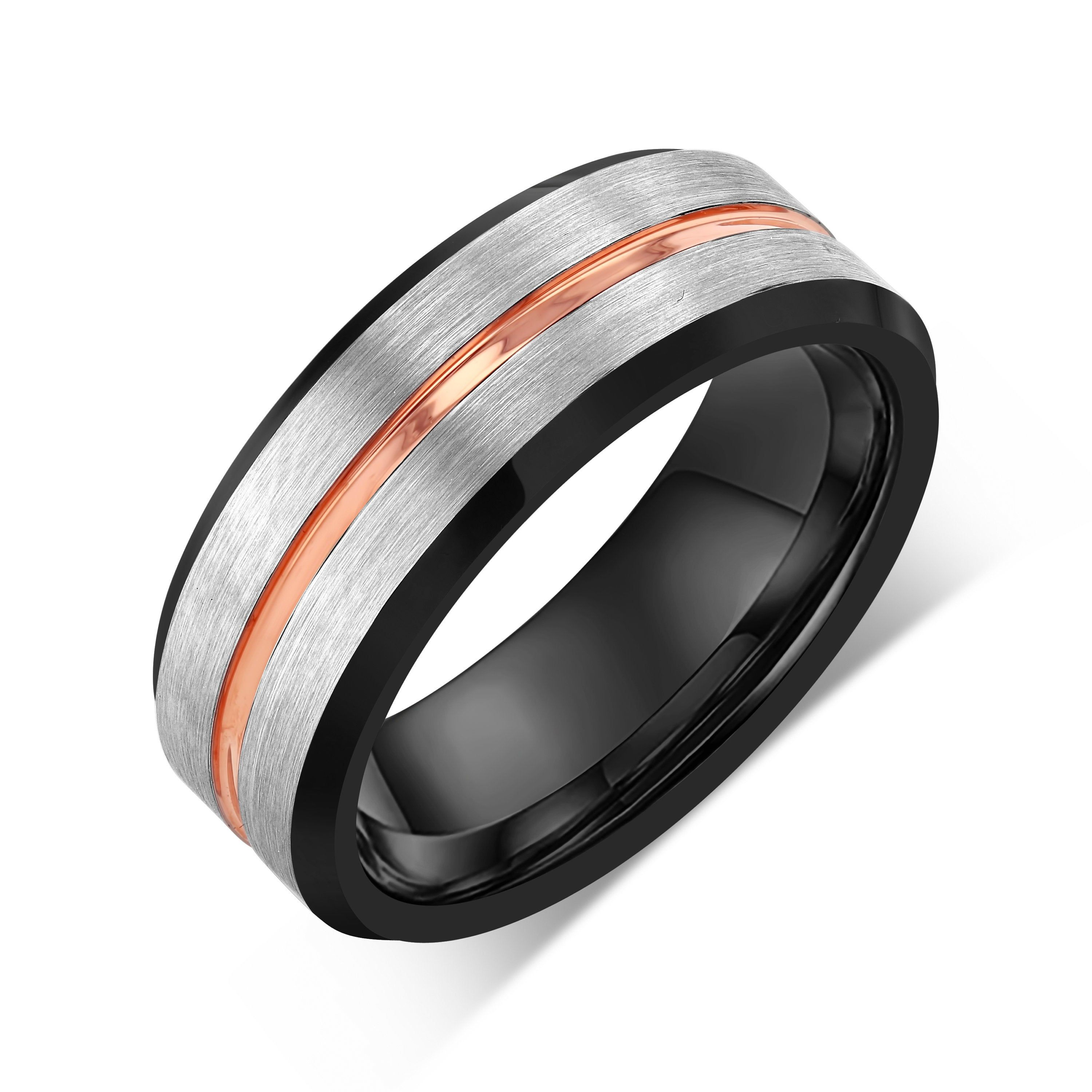 18k Rose Gold Tungsten Men And Women Ring 8mm Engagement Band Etsy Rose Gold Wedding Bands Black Tungsten Wedding Band Mens Wedding Bands
