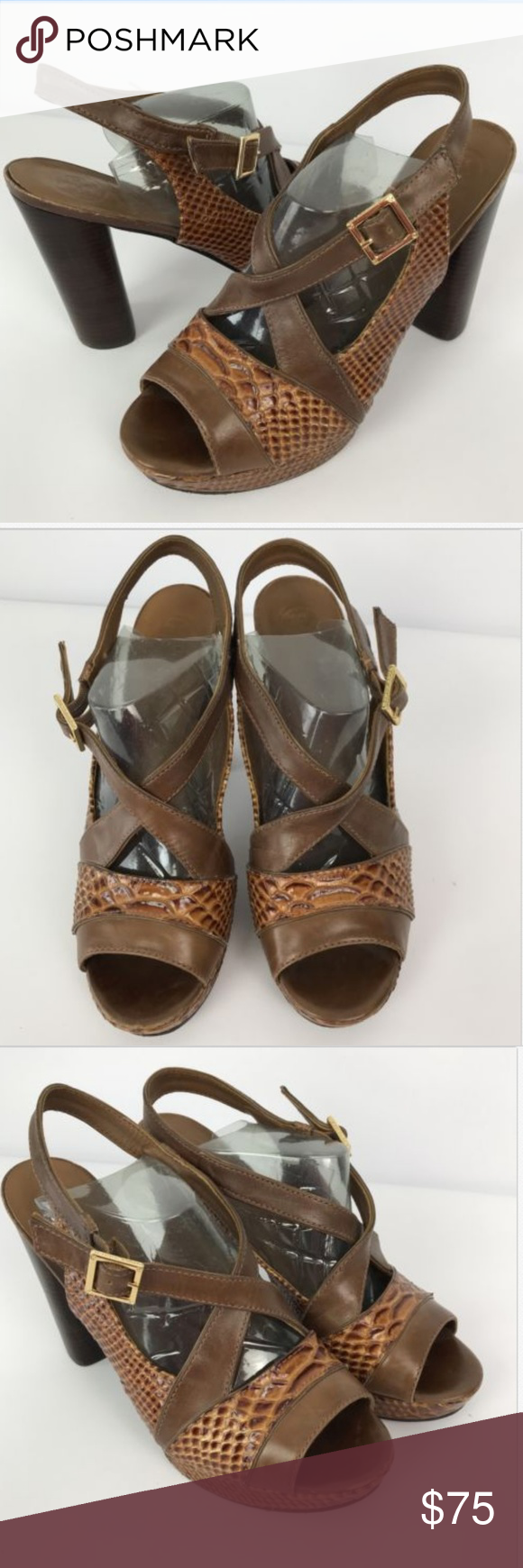 a5dbe6a6f6f2 Tory Burch Leather Sandals TORY BURCH Women Sandals Sz 10 Brown Leather  Faux Snake Skin High Heel Peep Toe Size 10 Please see all photos for  overall ...