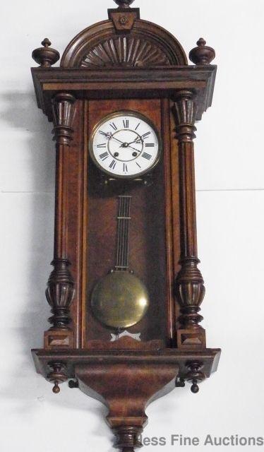 Lg Antique German Vienna Wall Regulator Clock Handwritten Lenzkirch Label Antiques Clock Antique Clocks