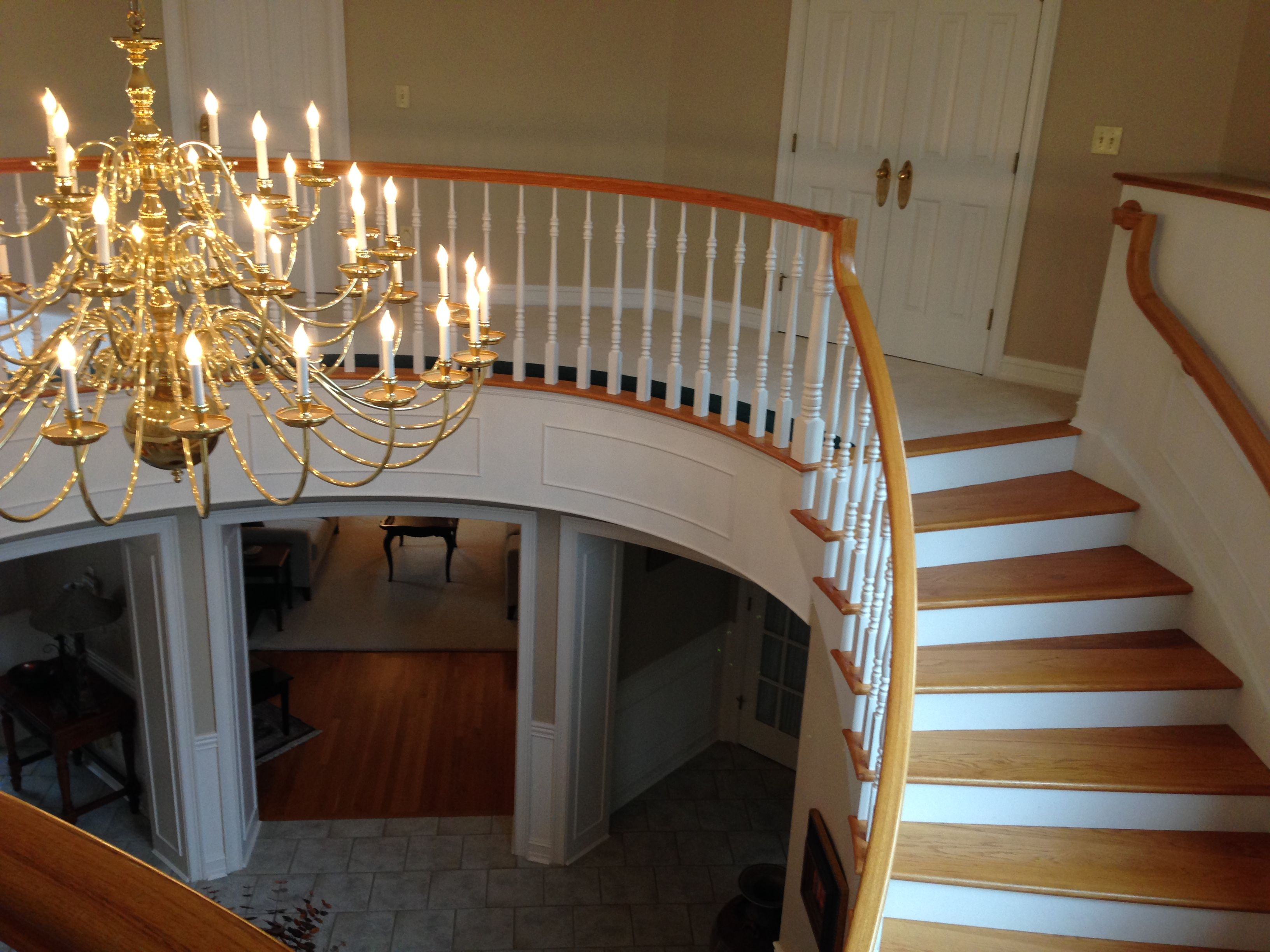 Best White Poplar Riser With Red Oak Treads Curved Stairs 400 x 300