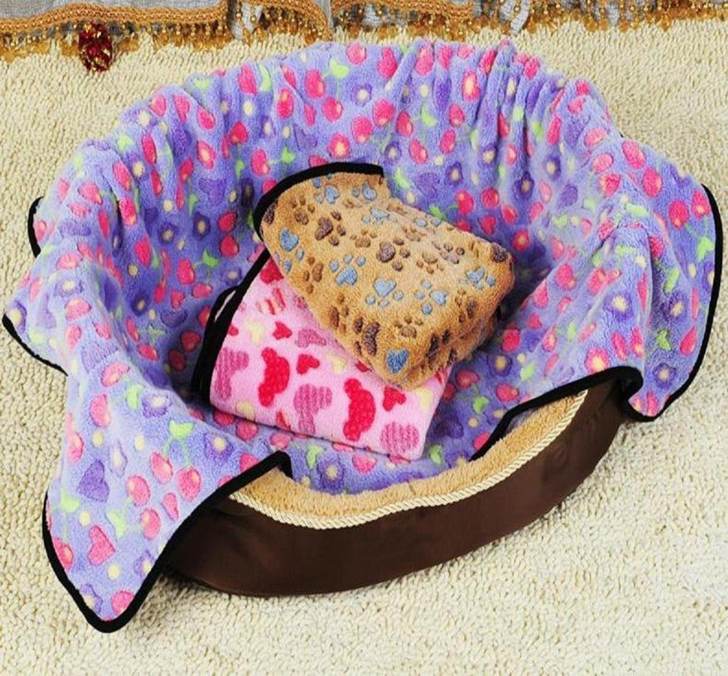 Soft Blanket Coral Fleece Warm Bed Mat Paw Print For Small