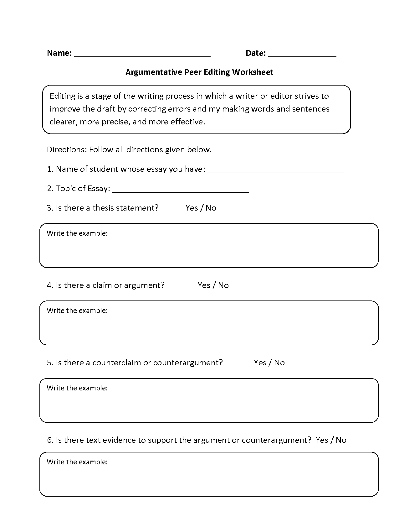 Argumentative Peer Editing Worksheets