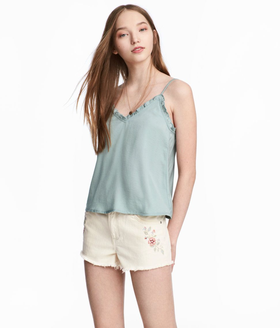 Check this out vneck camisole top in satin with narrow adjustable