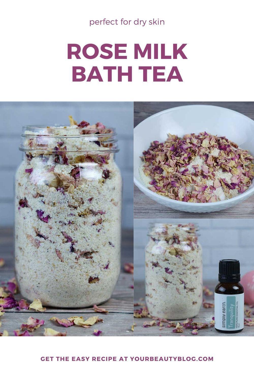 Rose Milk Bath Tea Recipe for Dry Skin