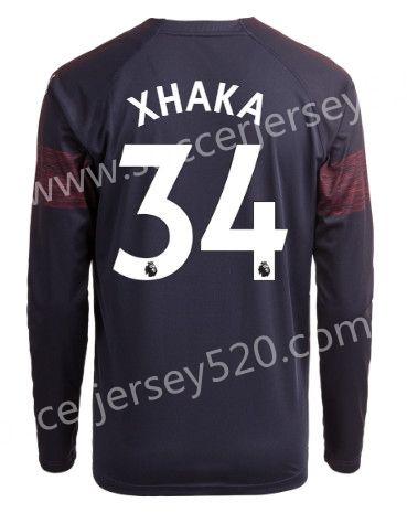 9c680614 2018-19 Arsenal Away Dark Blue #34 (XHAKA) Thailand LS Soccer Jersey AAA