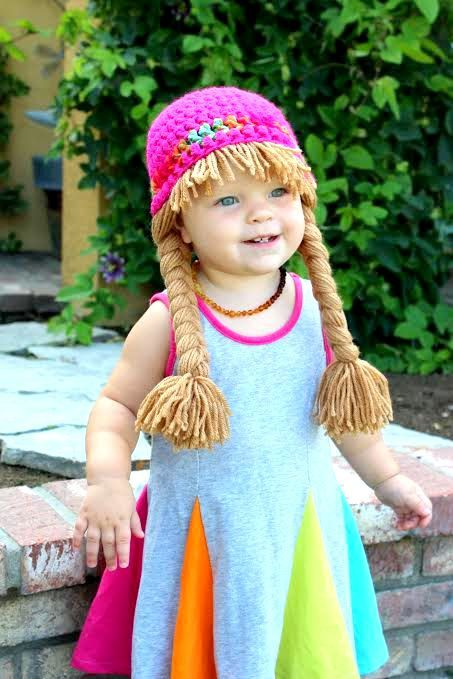 Baby Hat Cabbage Patch Hat Pigtail WIg Costume Photo Props Halloween ...
