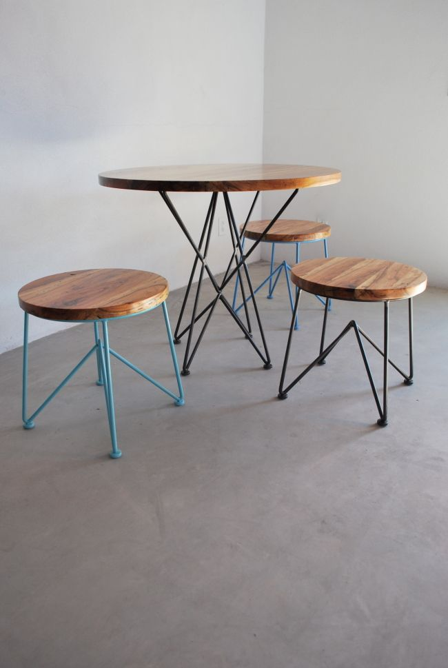 Minimal yet functional cafe table and stools provides for Minimal table design