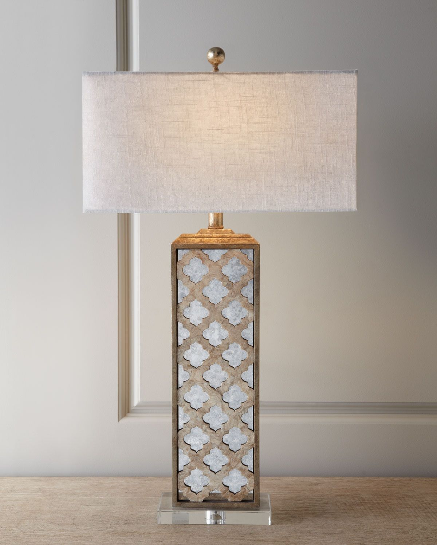 Mirrored Capiz Lamp Mirror Table Lamp Table Lamp Design Bedside Lamp Modern