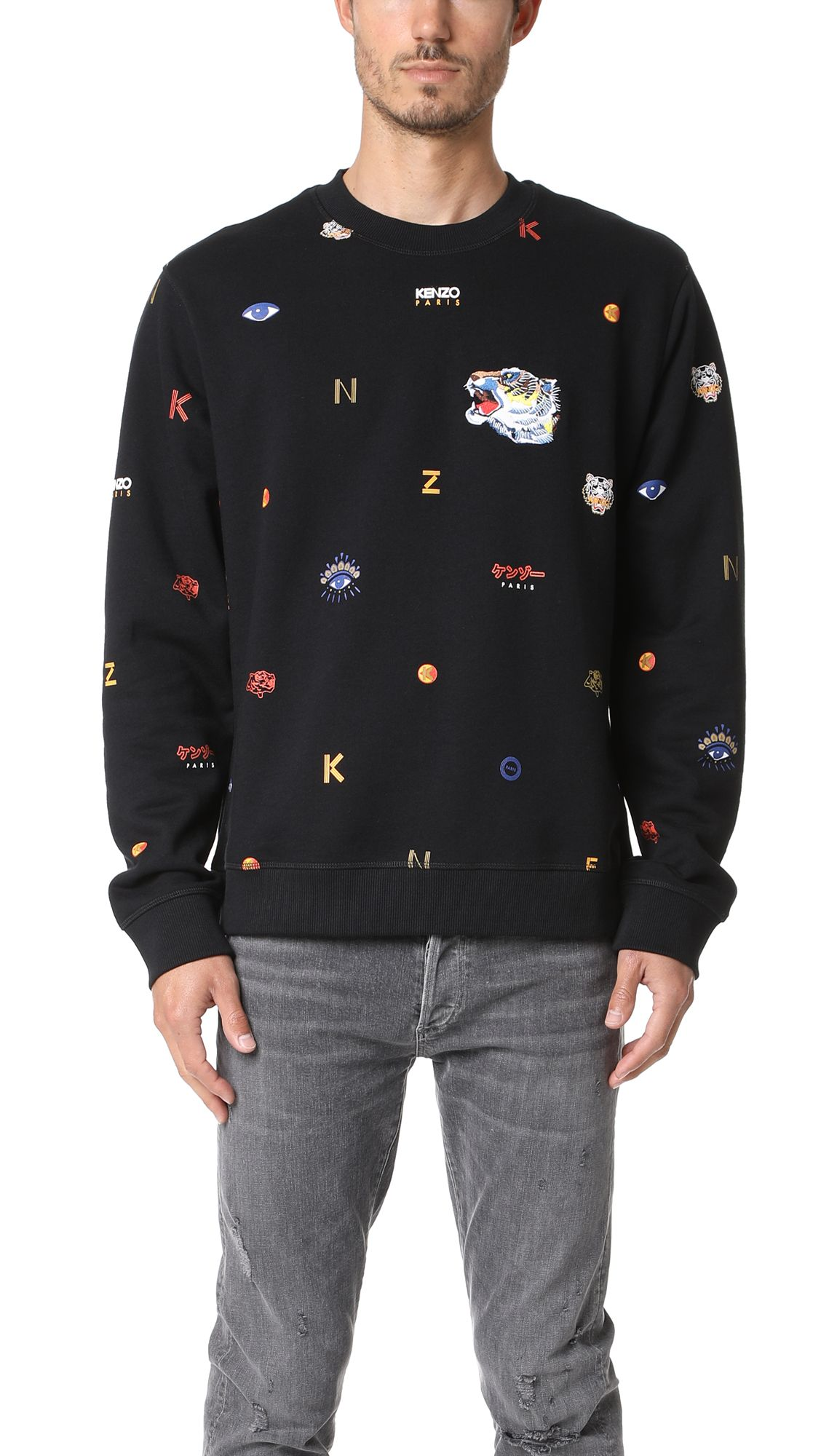 42de4c8e4 KENZO Allover Tiger Sweatshirt. #kenzo #cloth #sweatshirt Tiger Logo, Mens  Sweatshirts