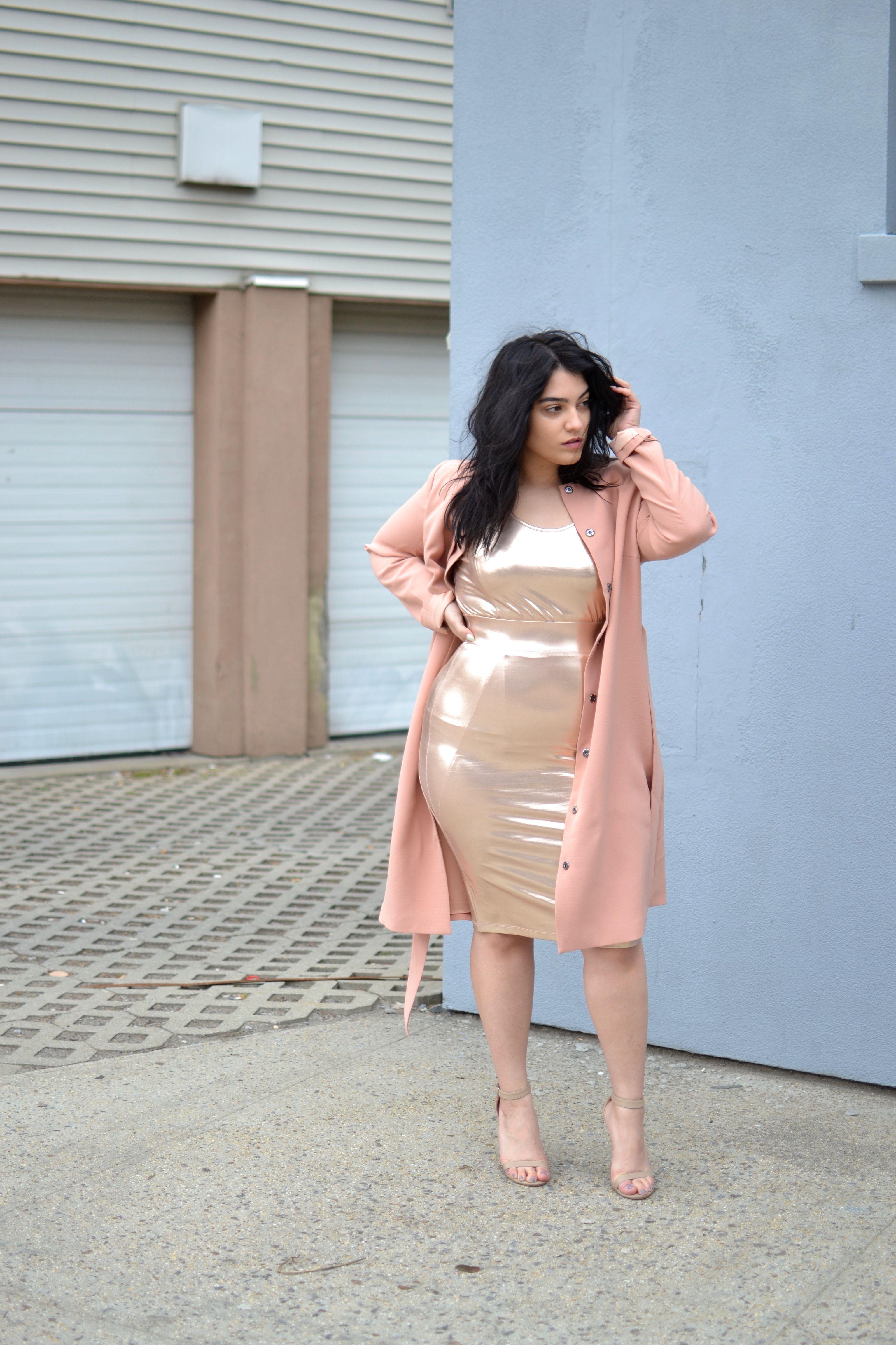 Carmakoma pink trench coat, Carmakoma metallic top and metallic skirt, nude  strappy heels