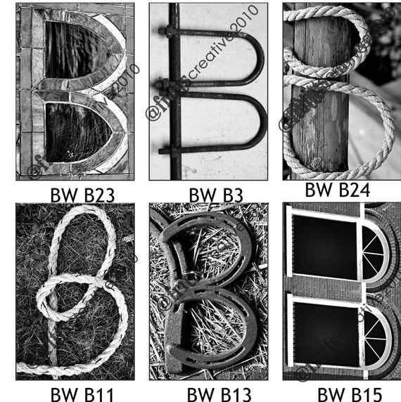 Letter B Alphabet Photography Black And White 4x6 Photo