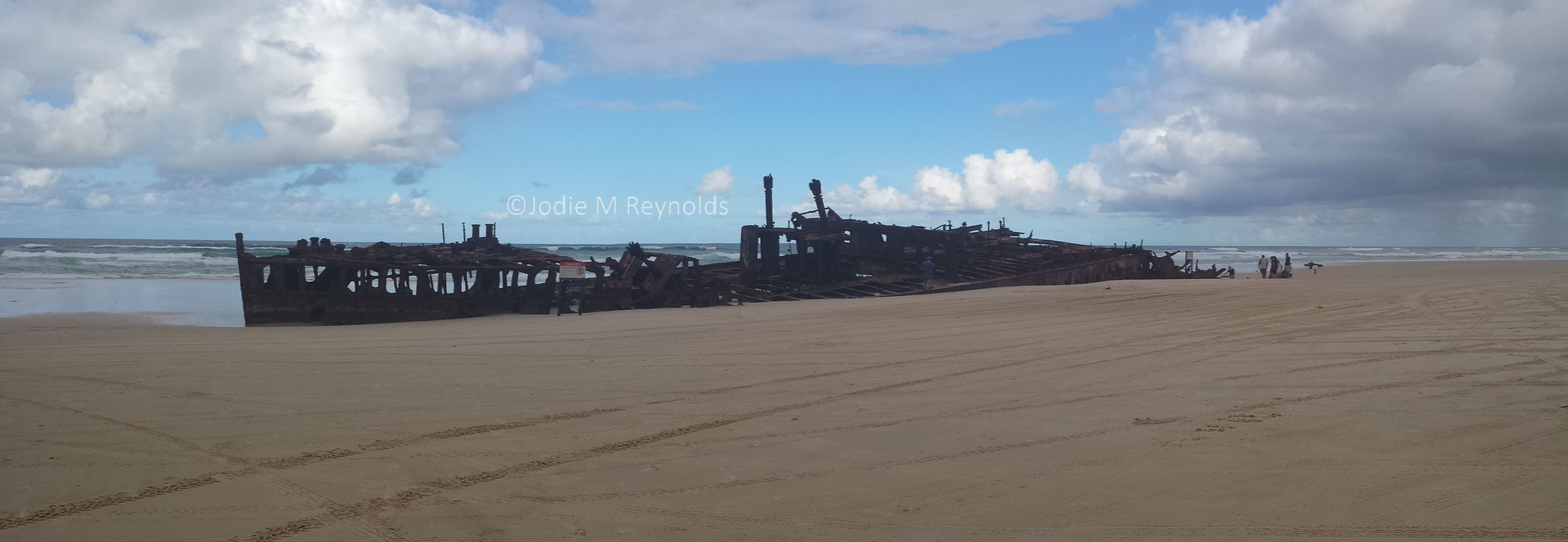The SS Maheno wreck on Fraser Island, ran aground here in 1935. Today, it attracts quite the number of tourists!