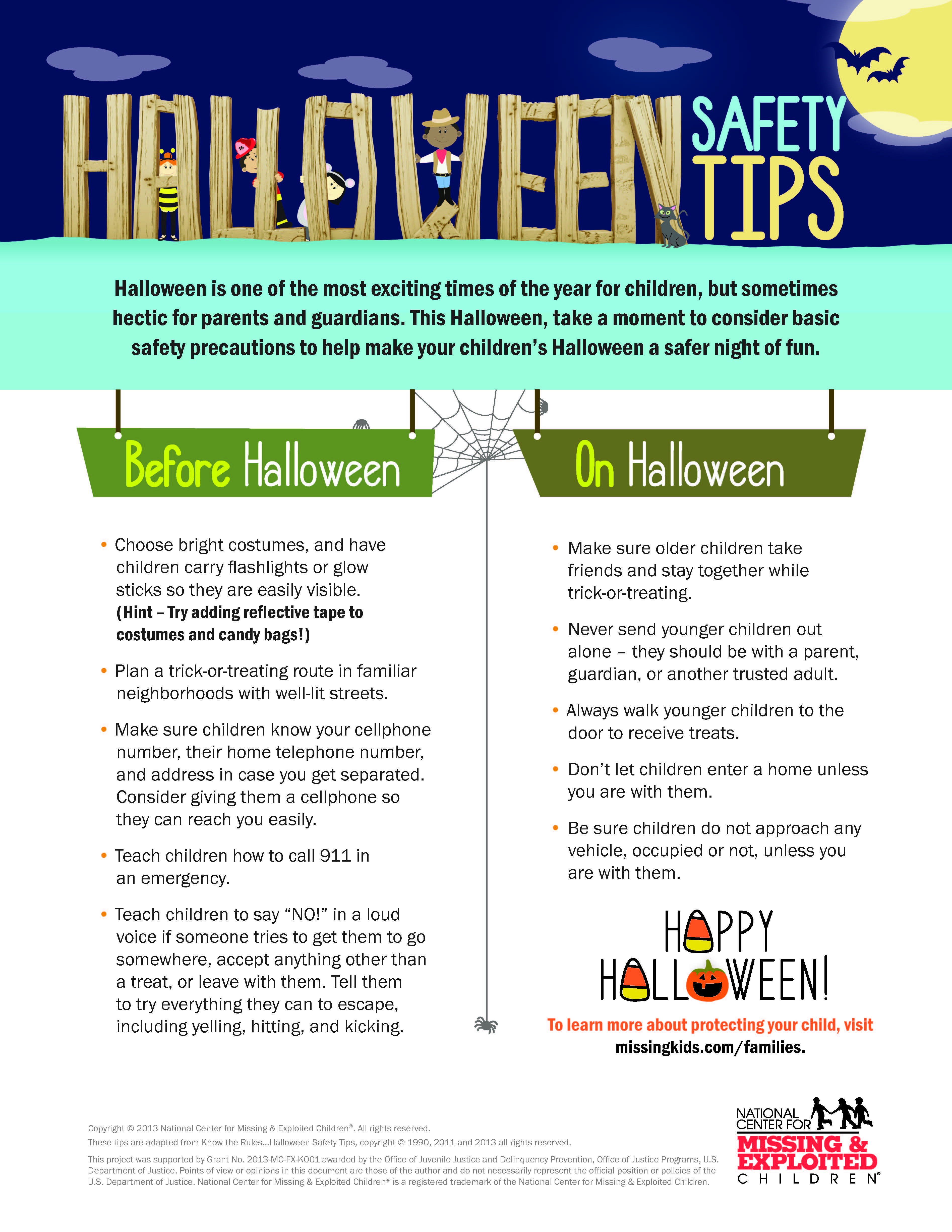 Halloween Safety Tips from NCMEC Halloween safety tips