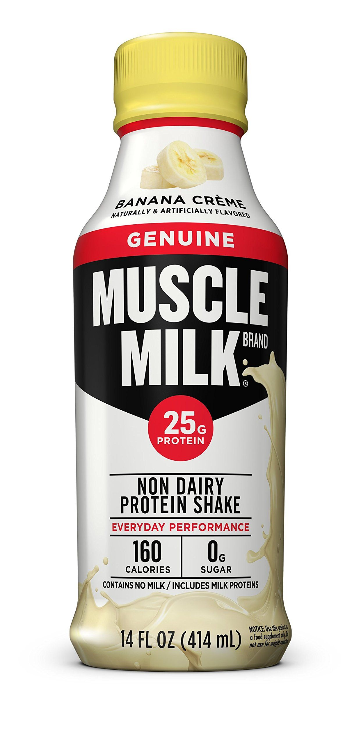 Muscle Milk Genuine Protein Shake Banana Crème 25g Protein 14 FL OZ 12 count ** Details can be ...