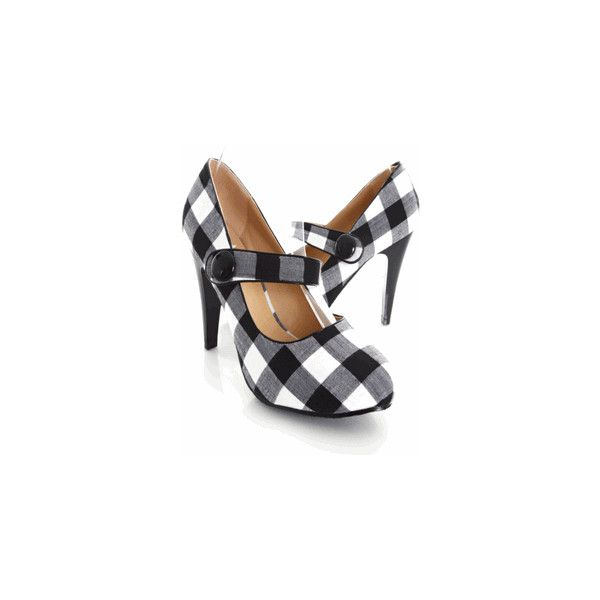 Black White Buffalo Plaid Mary Jane Heels @ Amiclubwear Heel Shoes... ($3.99) ❤ liked on Polyvore featuring shoes, sapatos, heels, plaid, tacones, white dress black shoes, high heel stilettos, black and white dress shoes, prom shoes and stiletto heel shoes