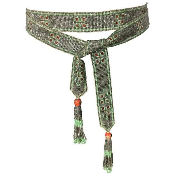 Preowned 1920's Seed Bead Flapper Belt/sautoir Necklace. Art Deco. (5,575 MXN) ❤ liked on Polyvore featuring accessories, belts, grey, wide grey belt, beaded belt, wide woven belt, tassel belt and grey belt