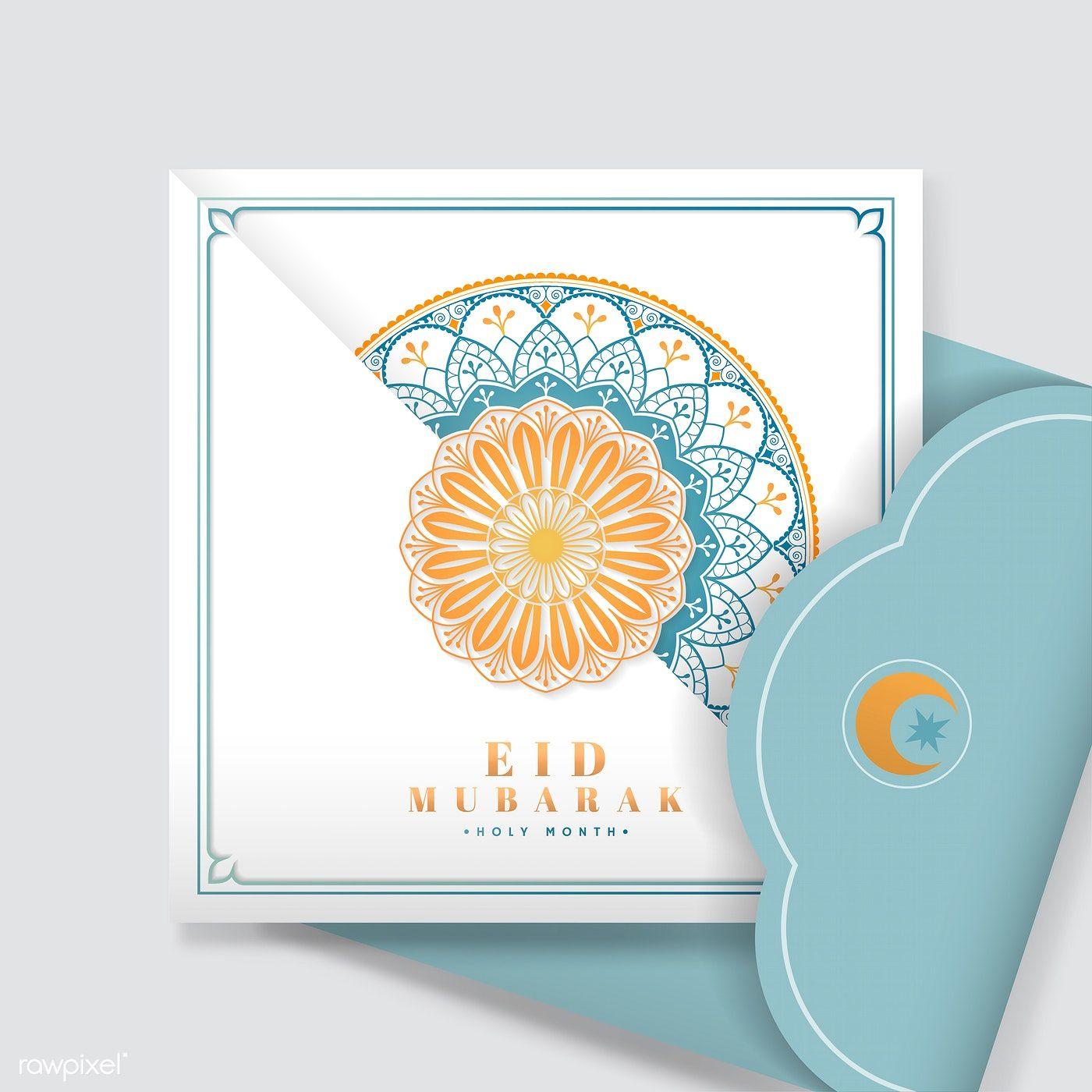 Download Premium Vector Of White And Blue Eid Mubarak Postcard