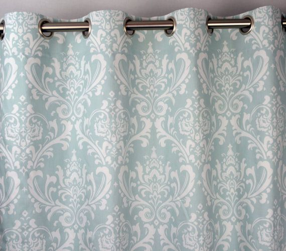 Powder Light Pale Sky Blue White Ozborne Damask Curtains Grommet